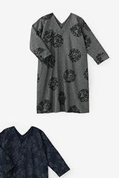 梳毛綾織 抜衿長方形衣 長袖