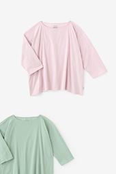 高島縮 ボートネックシャツ