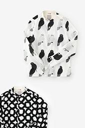 高島縮 スタンドカラーシャツ