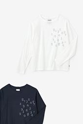 高島縮 長袖ポケットTシャツ