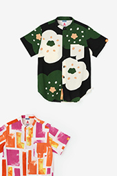 高島縮 スタンドカラー半袖シャツ