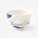 【在釜】京焼手描き抹茶碗/雲間と鳥獣戯画