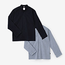 【傾衣】綿麻シャンブレー織 立衿 筒袖襯衣