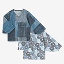 【着衣】高島縮 藍捺染 薙刀袖襞ジバン