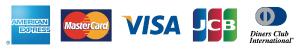 カード決済可能カード会社、VISA、ダイナース、マスターカード、JCB、アメリカンエキスプレス
