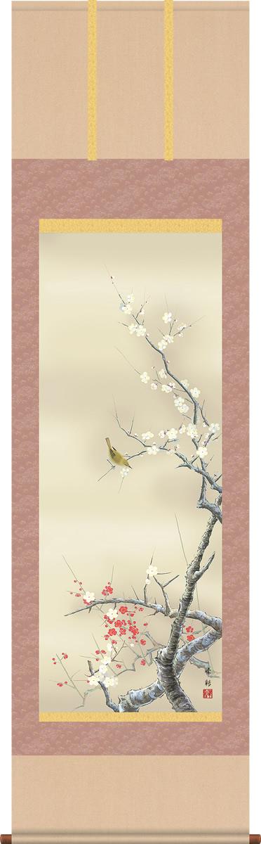 掛け軸-紅白梅に鶯/園田峰彩(尺五・桐箱・風鎮付き)