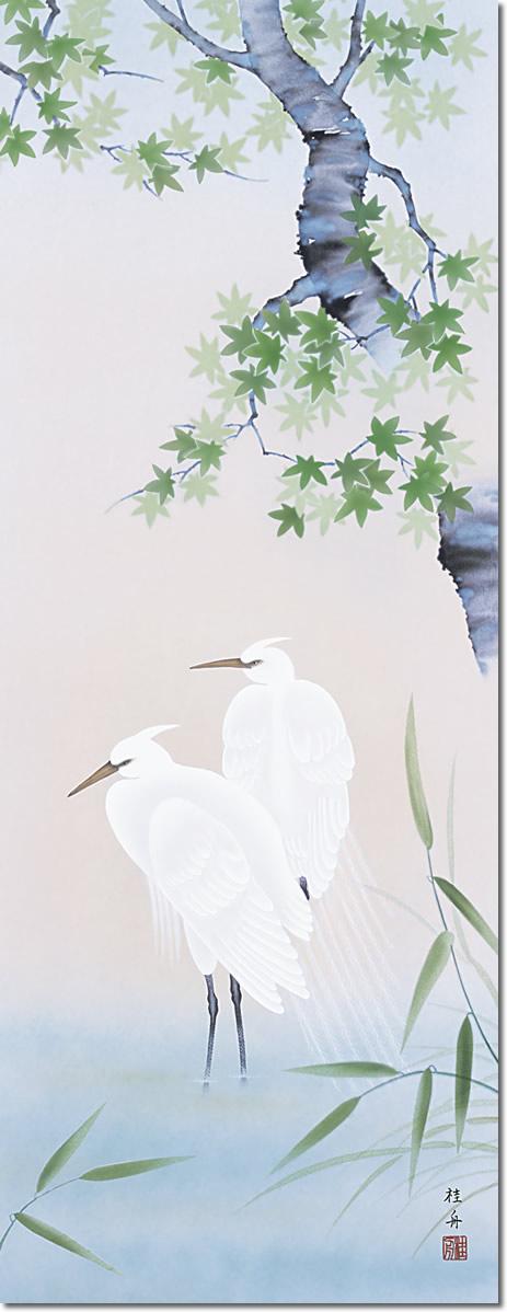 掛け軸-「夏」楓に白鷺/長江桂舟(尺五・桐箱・風鎮付き・緞子)
