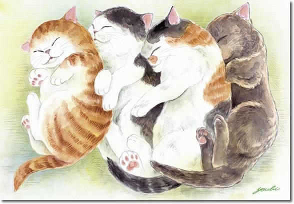 風水絵額-幸せのねこ・ねんねこ/洋美(ようび)