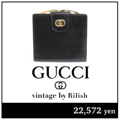 GUCCI グッチ ヴィンテージ ロゴがま口レザー二つ折り財布