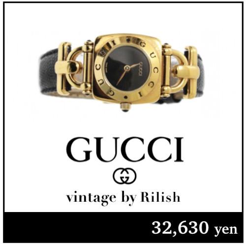 GUCCI グッチ ヴィンテージ ホースビット レザーベルトQZ腕時計 6300L ブラック
