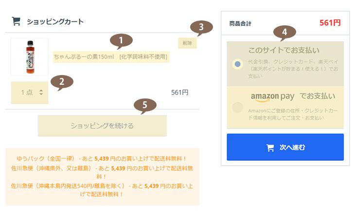 1.商品の確認(お買い物カゴに入れる)