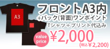 白吹き激安プリントセットフロントA3内+バックワンポイントフルカラー2000円ボディ込み