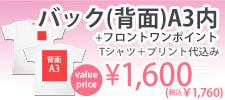 激安プリントセットバックA3内+フロントワンポイントフルカラー1600円5001ボディ込み
