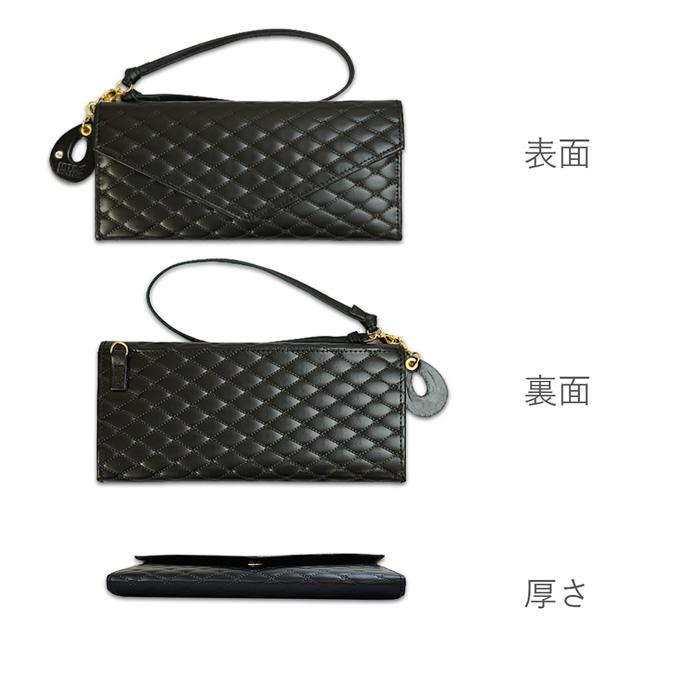 薄い!上品!おしゃれなレディース財布 ギャルソン長財布<ココ>ブラックの表面、裏面、厚さの画像