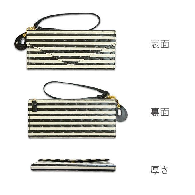 レディース財布 ギャルソン長財布<ココ>ストライプの表面、裏面、厚さの画像