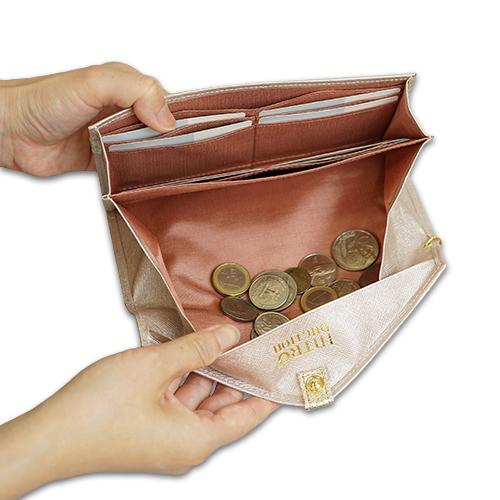 ギャルソン長財布<ラプラダ>の小銭がたまらない構造の説明画像