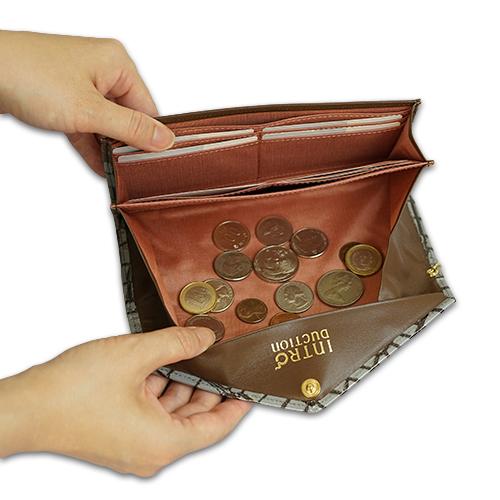 薄い!上品!おしゃれなレディース財布 ギャルソン長財布<アリゾナ>の小銭がたまらない画像
