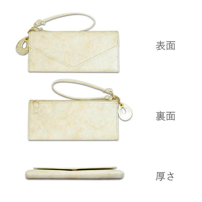 ギャルソン長財布<ミルキー>ベージュカラーの表面・裏面・厚さの説明画像