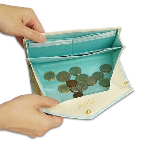 ギャルソン長財布<ミルキー>の小銭がたまらない構造の説明画像