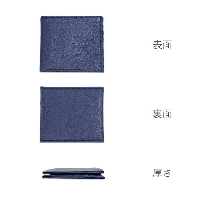 ポケットウォレット ミニ ネイビーカラーの表面、裏面、厚さの画像