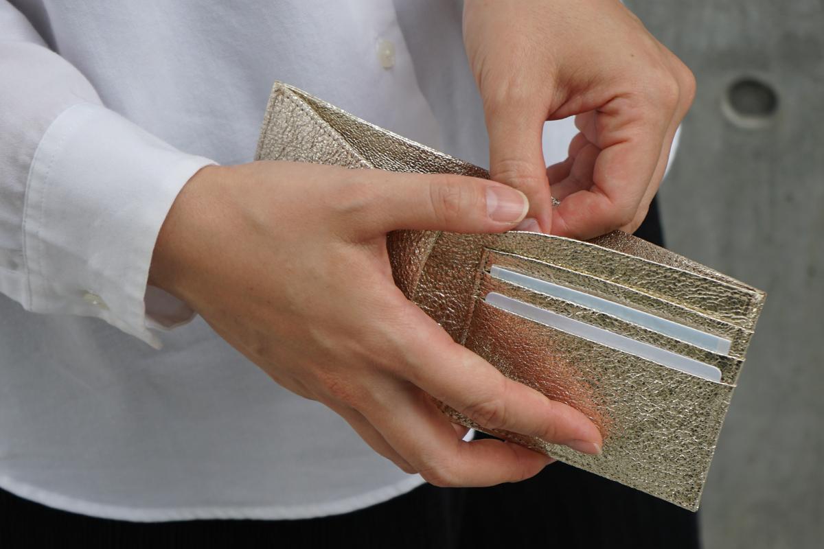 ポケットウォレット ミニ シャンパンゴールドのモデル画像4