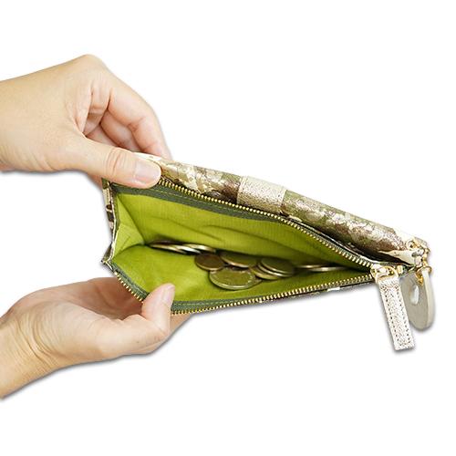 薄い長財布<アーミー>のスッキリしている見た目の説明画像