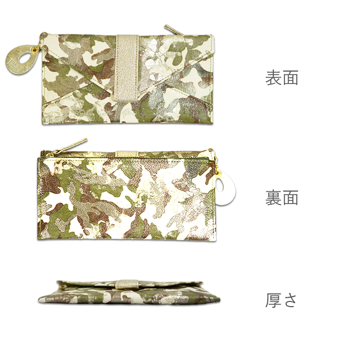 薄い長財布<アーミー>カーキカラーの表面・裏面・厚さの説明画像