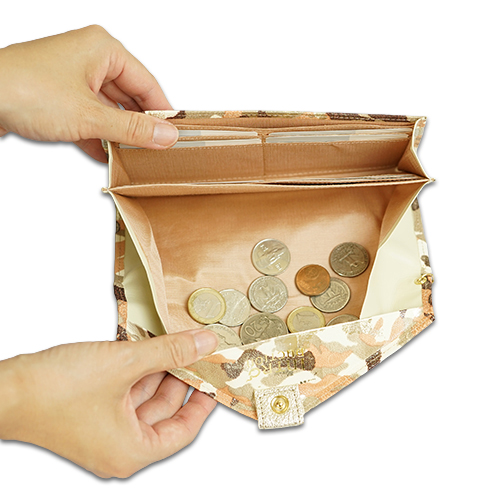 ギャルソン長財布<アーミー>の小銭がたまらない構造の説明画像