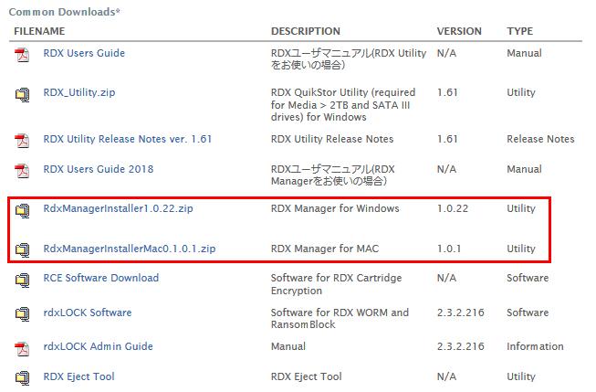 RDX Managerダウンロードページ