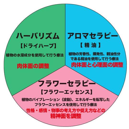 植物療法「アロマセラピー」「ハーバリズム」「フラワーセラピー」の3つの総称