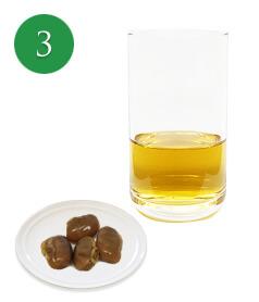 3〜4粒程度を食べて相応の量の抽出液も飲む