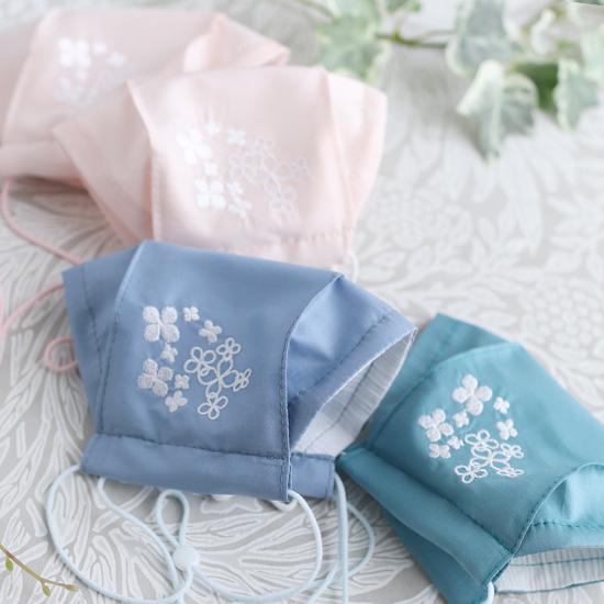 神戸のお花アジサイを刺繍★神戸タータン リバティプリント アジサイショルダーバッグ、マスク、マスクケースセットとポーチ、シュシュ