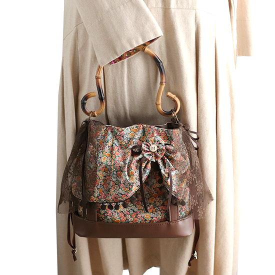 ふんわりドレスアップ ショルダーバッグ 着せ替えバッグ つば広帽子 キャプリーヌ:リバティ 神戸タータン
