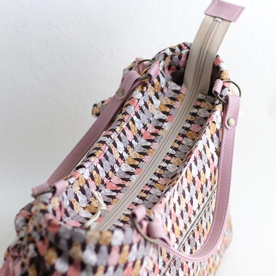 【A4】ファスナー付★ドロストリングバッグ(外ポケット付):リバティプリント エクリュ