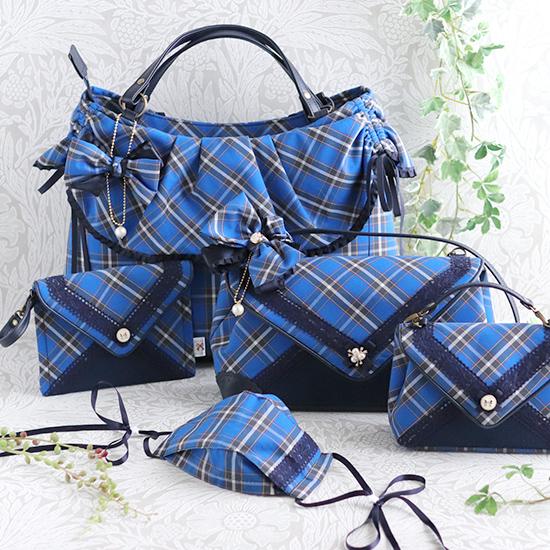 【A4】ファスナー付★ドロストリングバッグ(外ポケット付):神戸タータン