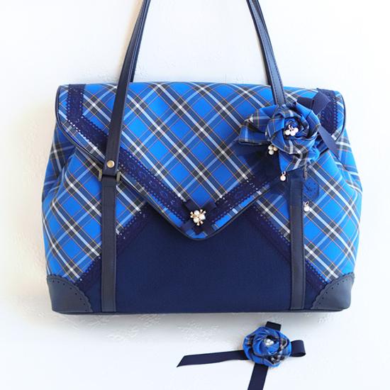 「エンベロープバッグ」トートバッグ、ショルダーバッグ、コスメポーチ、ケース、リボンマスク:神戸タータン