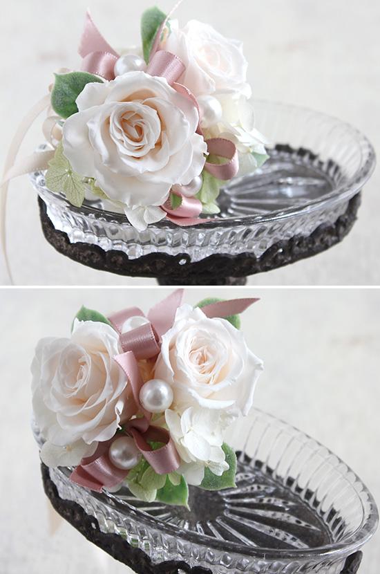 アンティークなガラストレー(高さ選択可)お花付(プリザーブドフラワー白・淡いピンク系)