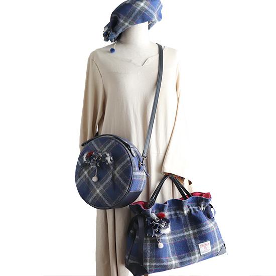 神戸タータンハリスツイード「ル・レーヴバッグ★セット」お花付き2wayバッグ★トート・ショルダーバッグ:ユリのイメージで、お花付きまん丸バッグ+ポーチ、巾着トートバッグ ベレー帽