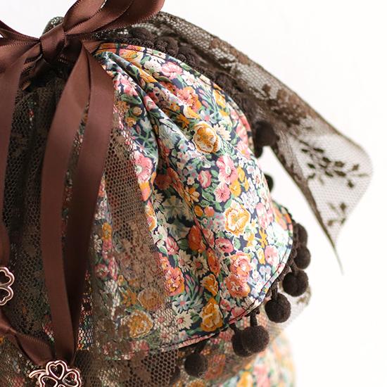 ふんわりチュール巾着:リバティ 神戸タータン