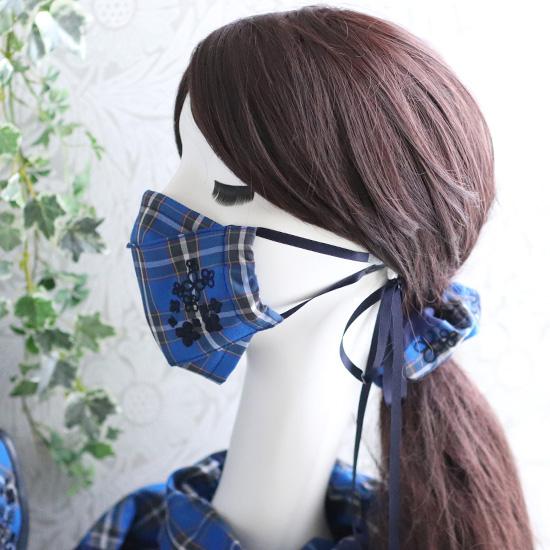 神戸のお花アジサイを刺繍★神戸タータン リュック、シャーリングストール、マスク、マスクケース、シュシュ