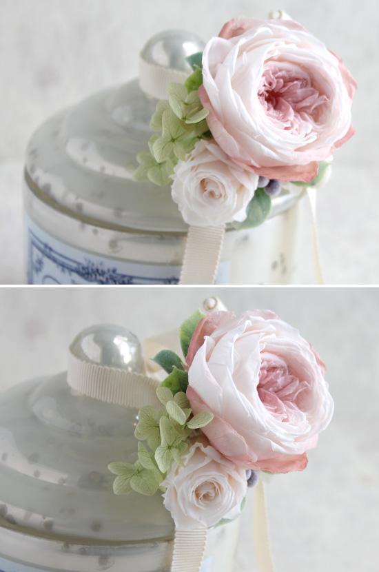 ホワイトガラスキャニスター お花付(プリザーブドフラワー アンティークローズピンク系)