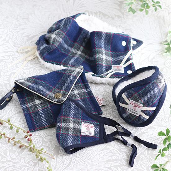 神戸タータン ハリスツイード お花付きまん丸バッグ+ポーチ、巾着トートバッグ ベレー帽