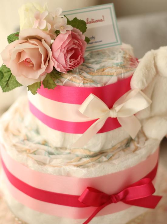 ふわふわウサギのおむつケーキ/2段・ピンク2