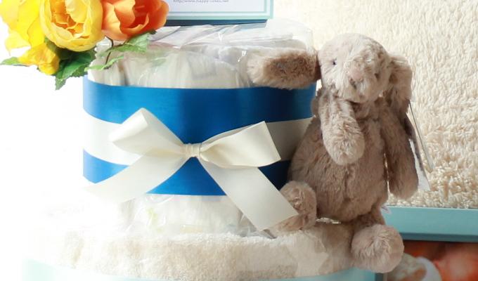 ふわふわウサギのおむつケーキ/2段・ブルー1