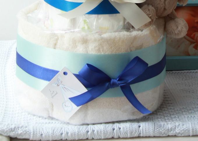 ふわふわウサギのおむつケーキ/2段・ブルー2