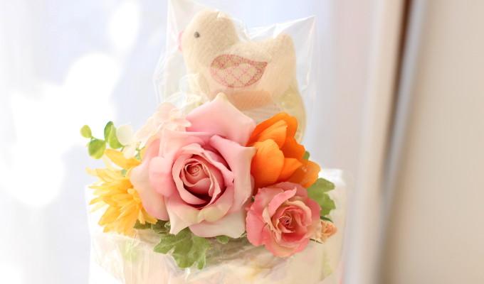 おむつケーキジョアン/2段・ピンク2