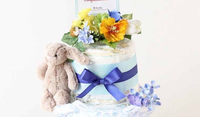 モナ グッズ3点付おむつケーキ/3段・ブルー 1