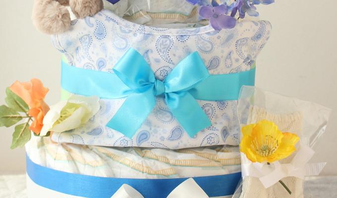 モナ グッズ3点付おむつケーキ/3段・ブルー 2