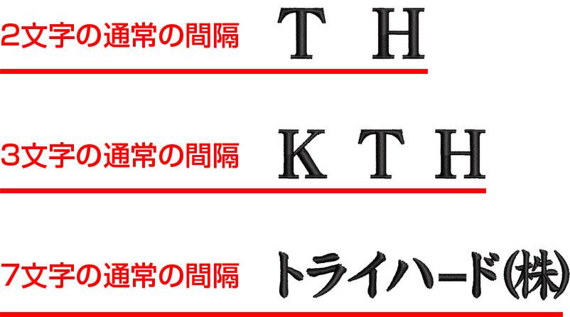刺繍の文字間隔