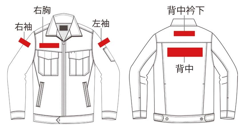 「左胸以外」の刺繍場所、右胸・左袖・右袖・背中衿下・背中